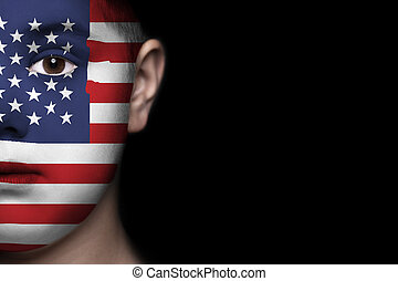 visage humain, peint, à, drapeau, de, usa