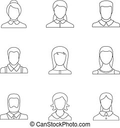Visage icons set, outline style