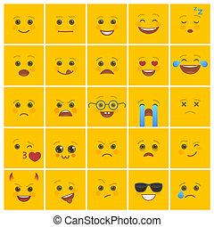 visages souriants, à, expressions faciales, sur, jaune