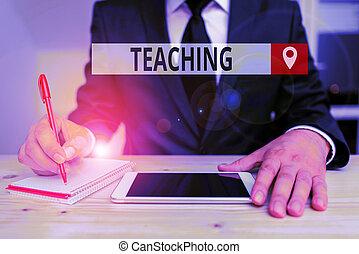 visande, ämne, demonstrating., ge sig, akt, förklarande, anteckna, skrift, foto, information, teaching., showcasing, en, affär
