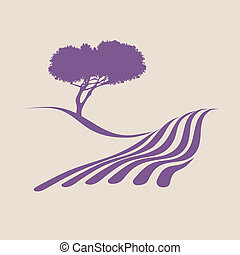visande, illustration, stylized, lantlig, provence, landskap
