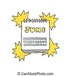 visande, juni, månad, strukturerad, kalender, tecknad film