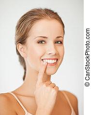 visande, kvinna, henne, tänder