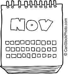 visande, månad, svart, kalender, november, vit, tecknad film