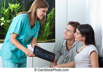 visande, par, tandläkare, tand röntgenbild