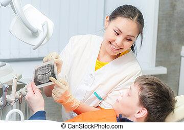 visande, tålmodig, tandläkare, röntga