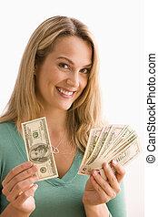 visar, kontanter, kvinna, henne