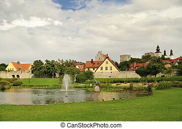 Visby city walls - Almedalen and the old city walls of Visby...