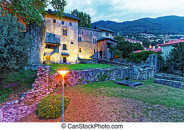 Visconteo Castle at the city center of luxurious resort Locarno in Ticino canton, Switzerland.