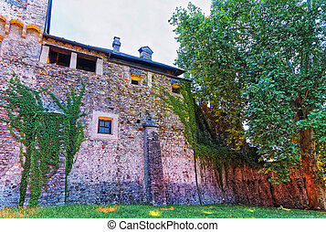 Visconteo Castle in the city center of luxurious resort Locarno, Ticino canton, Switzerland, in the evening.