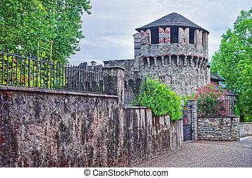 Visconteo Castle in the city center of luxurious resort Locarno of Ticino canton, Switzerland.