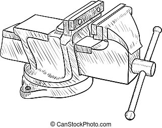 Vise, Hand Tool - Vector drawing of the old vise grip