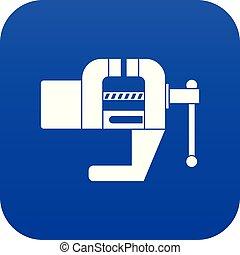 Vise tool icon digital blue