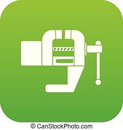 Vise tool icon digital green