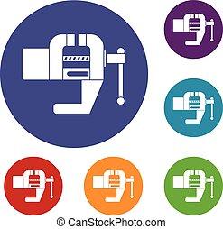 Vise tool icons set