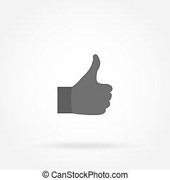 viser, hånd, tommelfinger, ikon