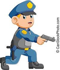 viser, policier, pistolet, officier