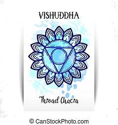 vishuddha, patrón, elemento, símbolo, vector, fondo., acuarela, chakra, círculo, mandala, blanco, mano, dibujado, colored., ilustración, lettering.