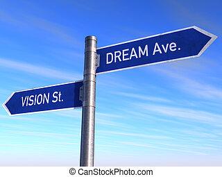 visión, ave., s., señal, sueño, camino