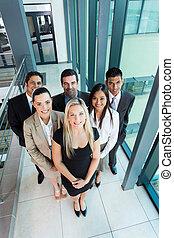 visión de arriba, de, equipo negocio