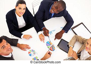 visión de arriba, de, reunión negocio