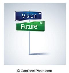 visión, dirección, futuro, signo., camino