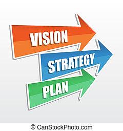 visión, estrategia, plan, en, flechas, plano, diseño