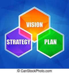 visión, estrategia, plan, en, hexágonos, plano, diseño