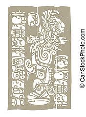 visión, glyphs, maya, serpiente