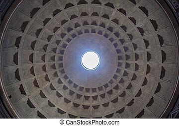 visión interior, de, el, cúpula, de, el, panteón, en, roma, italia