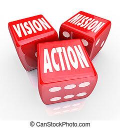 visión, misión, acción, tres, rojo, dados, meta, estrategia