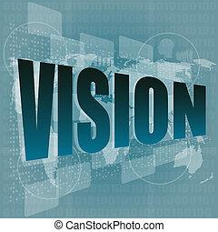 visión, palabra, en, digital, pantalla, con, mapa del mundo,...