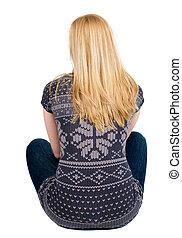 visión trasera, de, mujer hermosa, se relaja, y, miradas, en, el, distancia., rubio, niña joven, sitting., vista trasera, gente, collection., trasero, vista, de, person., aislado, encima, blanco, fondo.