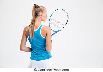 visión trasera, retrato, de, un, hembra, jugador del tenis