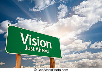 visión, verde, muestra del camino, encima, nubes