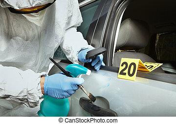 visibiling, porta, criminologists, car, impressões digitais, técnico