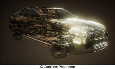 visible, moteur, voiture
