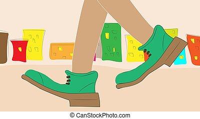 visible., pernas, andar, só, boots., viajante, verde, dois, ao redor, cidade