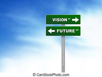 visie, en, toekomst, wegaanduiding