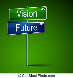 visie, richting, toekomst, teken., straat