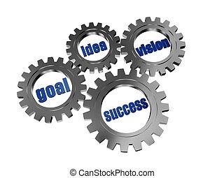 visie, succes, doel, tandwielen, grijze , idee, zilver