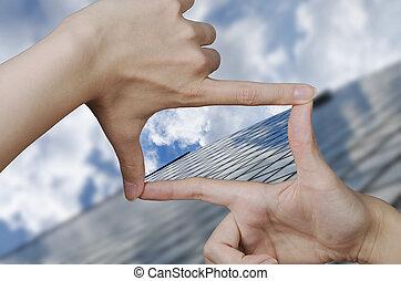 visie, van, een, glas, zakelijk, gebouw