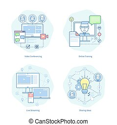visioconférence, formation, vecteur, vidéo, illustration