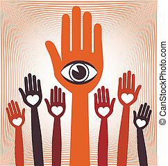 visionär, hand, design., ledare