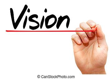 vision, écriture, business, main, concept
