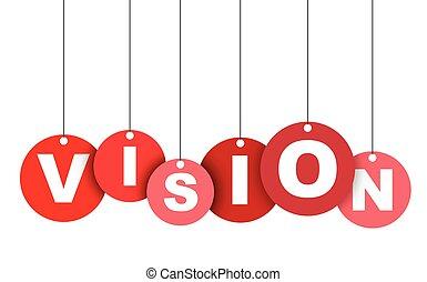 vision., ベクトル, 網, これ, 旗, 井戸, 隔離された, イラスト, 要素, タグ, 容易である, 円, adapted, 赤, design.