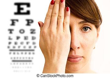 vision., 彼の, 目, カバー, 点検, チャート, テスト, 若い, 顔, バックグラウンド。, 女, 光景, 手