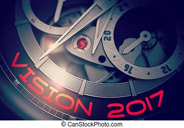Vision 2017 on Men Wristwatch Mechanism. 3D.