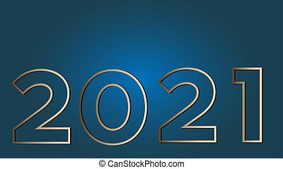 Vision 2021 on a classic blue background gold large figures. Vector illustration with copy space is suitable for a banner, greeting card and template.