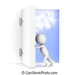 3D little human character opens a massive door. Sky background with luminance.